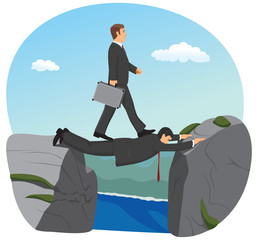 Businessman is walking over the precipice.