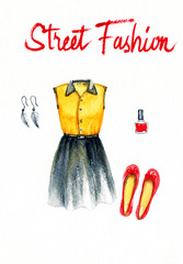 collection of fashionable clothes