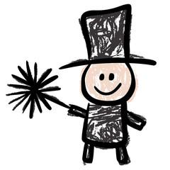 Lustiger Schornsteinfeger mit Hut und Bürste – Kinderzeichnung