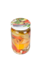 Pickled peppers. home canned isolated on white background