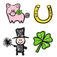 4 Glücksbringer: Kleeblatt, Schwein, Schornsteinfeger, Hufeisen