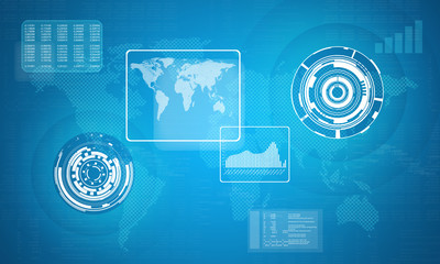 Technology concept consits of world map, graphs and circles