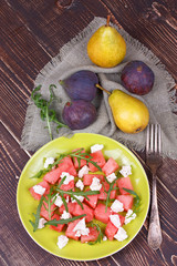 Watermelon, cheese and rocket salad