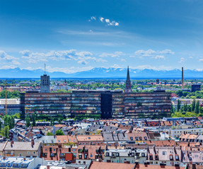 Aerial view of Munich with Bavarian Alps in back