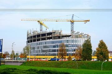 Vilnius city skyscraper construction in city center