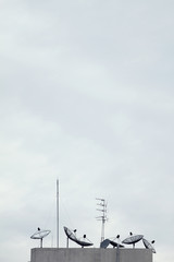 Telecommunication concept. satellite antenna against cloudy sky.