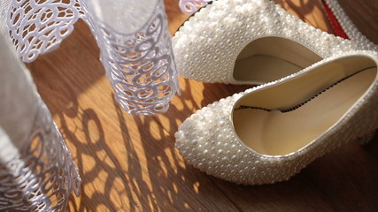 White Bridal Shoes with Pearls