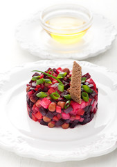 Vinaigrette Traditional Russian vegetable salad with beetroot