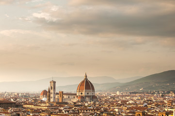 Picturesque view of Florence from Michelangelo Square, Italy