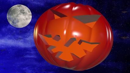 Abstract pumpkin head on dark blue sky