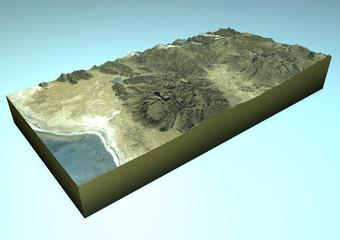 Vista satellitare Challapata, Bolivia, mappa, sezione 3d