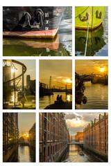 Collage Abendstimmung Hafen Hamburg