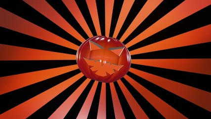 Abstract pumpkin head over sunburst in orange