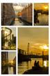 canvas print picture - Collage Abendstimmung Hafen Hamburg