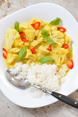 Chicken curry with basmati rice and chili