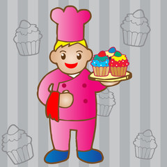 chef holding a cupcake
