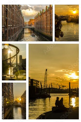 canvas print picture Collage Abendstimmung Hafen Hamburg