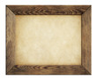 canvas print picture - wood frame with old paper isolated on white