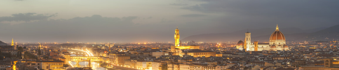 Night panorama of Florence in the beautiful framing
