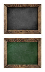 old green and black school blackboard or chalkboard with wood