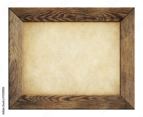 canvas print picture wood frame with old paper isolated on white