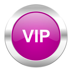 vip violet circle chrome web icon isolated