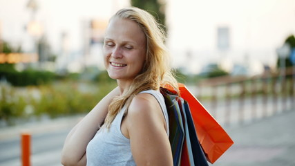 Woman being happy with good shopping