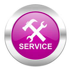 service violet circle chrome web icon isolated