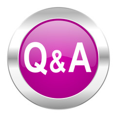 question answer violet circle chrome web icon isolated