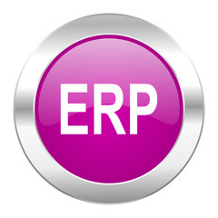 erp violet circle chrome web icon isolated