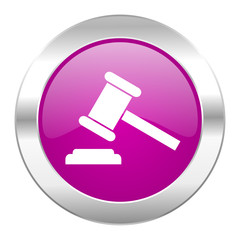 auction violet circle chrome web icon isolated