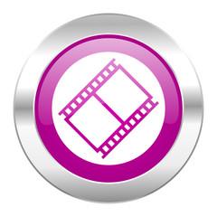 film violet circle chrome web icon isolated