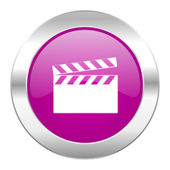 video violet circle chrome web icon isolated