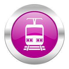 train violet circle chrome web icon isolated