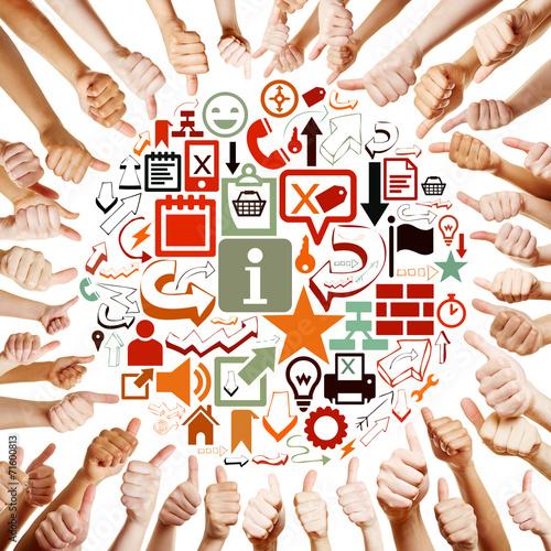 canvas print picture Hände um Icons halten Daumen hoch