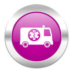 ambulance violet circle chrome web icon isolated