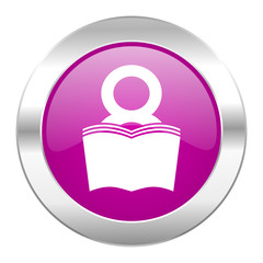 book violet circle chrome web icon isolated