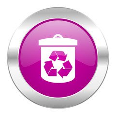 recycle violet circle chrome web icon isolated