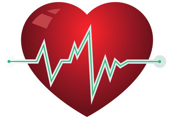 Icon heart with pulse graph