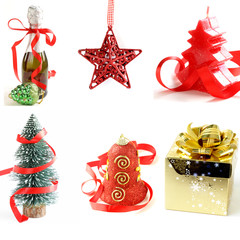 set different  Christmas decorations and symbols