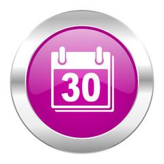 calendar violet circle chrome web icon isolated