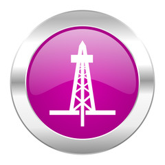 drilling violet circle chrome web icon isolated