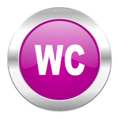 toilet violet circle chrome web icon isolated