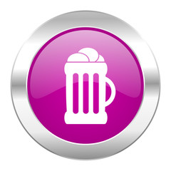 beer violet circle chrome web icon isolated