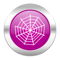 spider web violet circle chrome web icon isolated