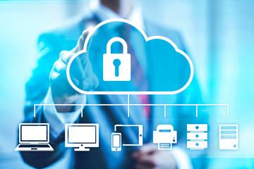 Cloud computing concept man selecting virtual interface