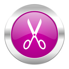 scissors violet circle chrome web icon isolated
