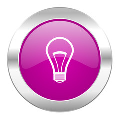 bulb violet circle chrome web icon isolated