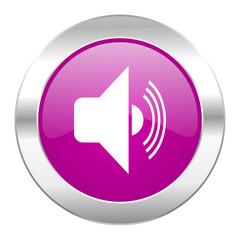 volume violet circle chrome web icon isolated