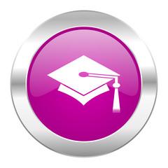 education violet circle chrome web icon isolated